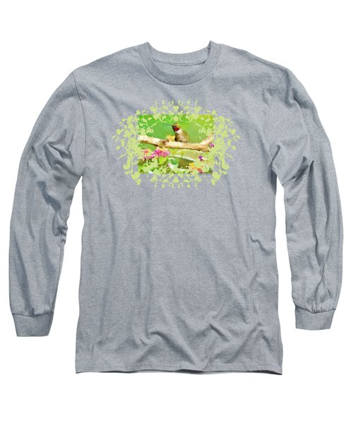 Hummingbird Attitude T - Shirt Designe Long Sleeve T-Shirt by Debbie Portwood