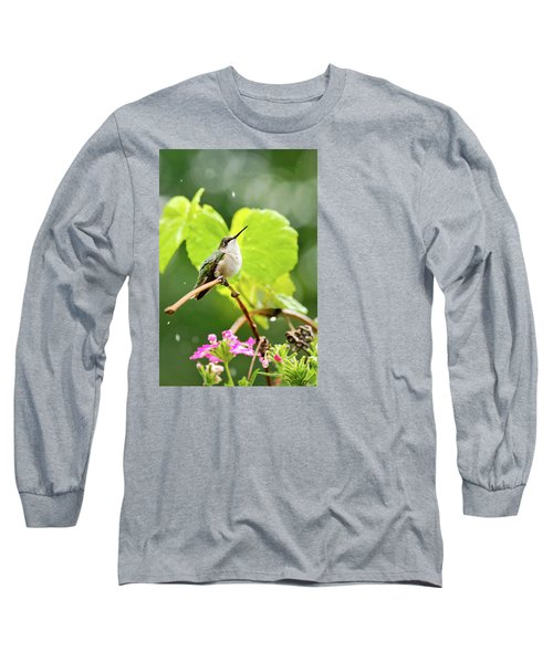 Hummingbird On Vine In The Rain Long Sleeve T-Shirt