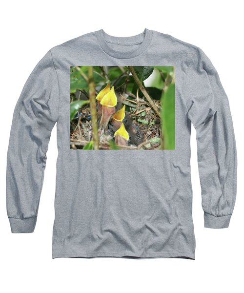 Long Sleeve T-Shirt featuring the photograph Hungry Baby Birds by Jerry Battle