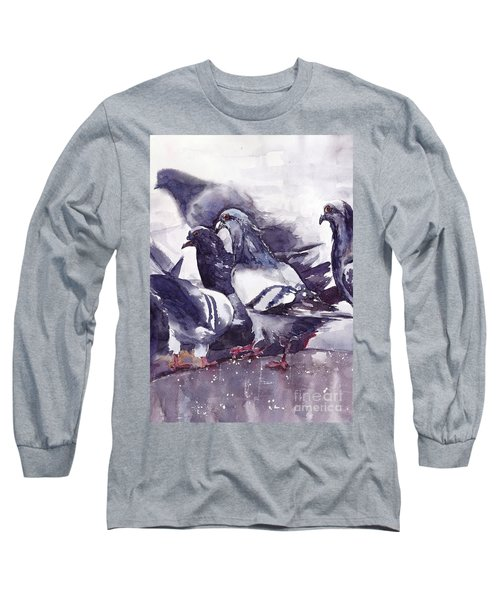 Hungry Pigeons Watercolor Long Sleeve T-Shirt