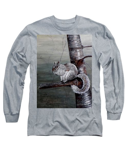 Long Sleeve T-Shirt featuring the painting Hungry Squirrel by Judy Kirouac
