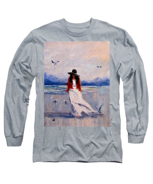 Long Sleeve T-Shirt featuring the painting I Am Just A Dreamer.. by Cristina Mihailescu