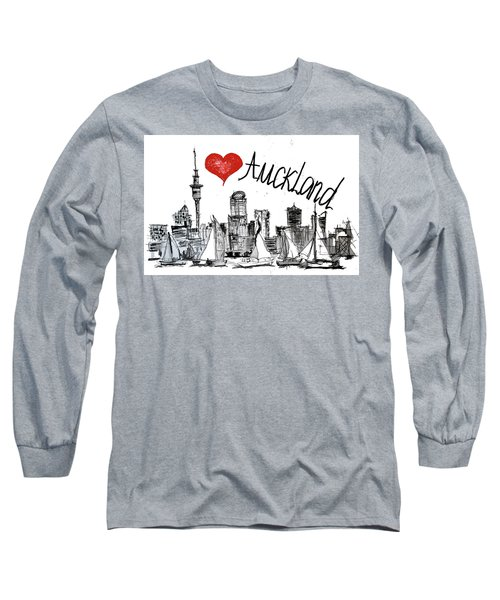 Long Sleeve T-Shirt featuring the drawing I Love Auckland  by Sladjana Lazarevic