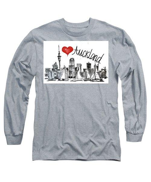 I Love Auckland  Long Sleeve T-Shirt by Sladjana Lazarevic