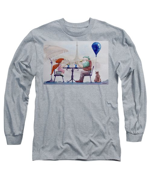 Long Sleeve T-Shirt featuring the painting I Love Paris Grandpa by Geni Gorani
