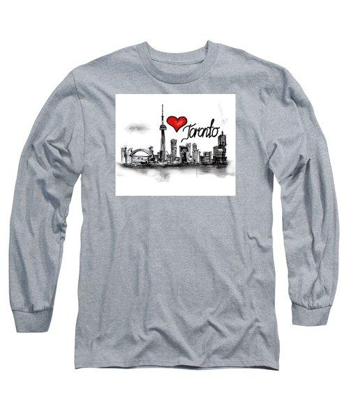 Long Sleeve T-Shirt featuring the drawing I Love Toronto by Sladjana Lazarevic