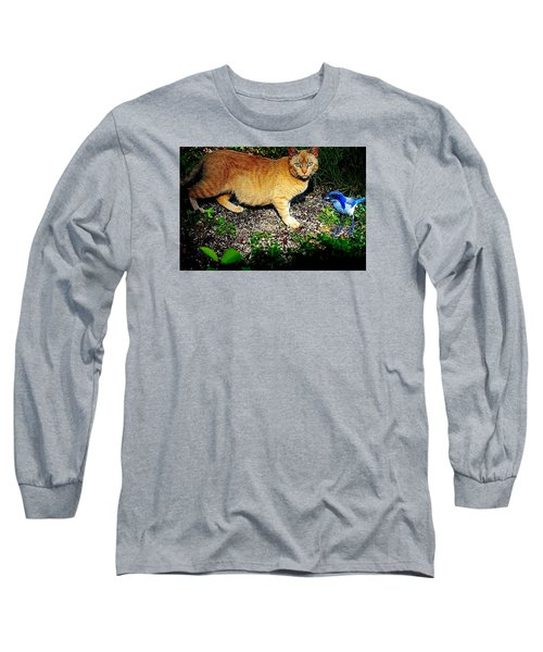 Long Sleeve T-Shirt featuring the photograph I See A Puddy Kat by Nick Kloepping