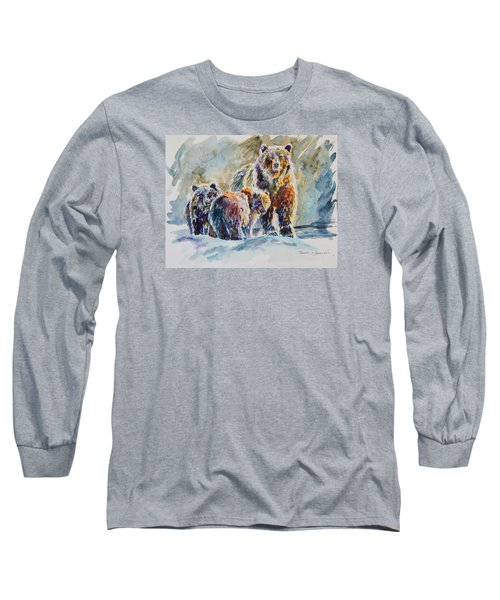 Long Sleeve T-Shirt featuring the painting Ice Bears by P Maure Bausch