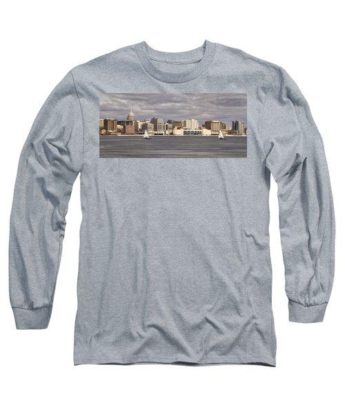 Ice Sailing - Lake Monona - Madison - Wisconsin Long Sleeve T-Shirt by Steven Ralser