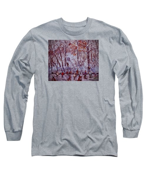 Ice Skating On Hardy Pond Long Sleeve T-Shirt by Rita Brown