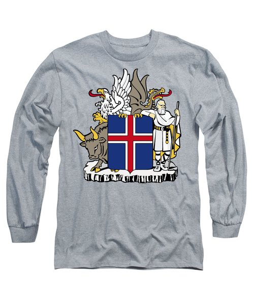 Long Sleeve T-Shirt featuring the drawing Iceland Coat Of Arms by Movie Poster Prints