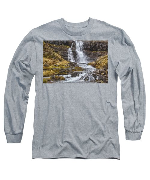 Long Sleeve T-Shirt featuring the tapestry - textile Iceland Fjord 2 by Kathy Adams Clark