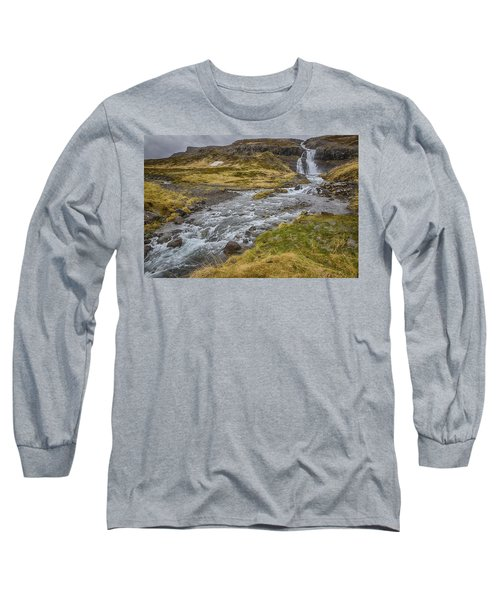 Long Sleeve T-Shirt featuring the tapestry - textile Iceland Fjord by Kathy Adams Clark
