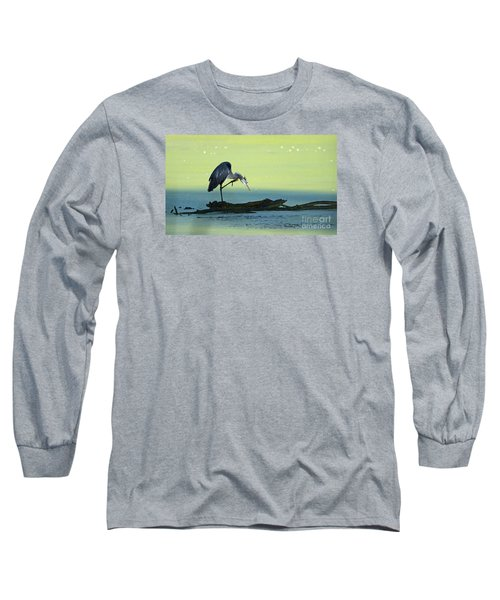Ichy The Great Blue Heron Long Sleeve T-Shirt