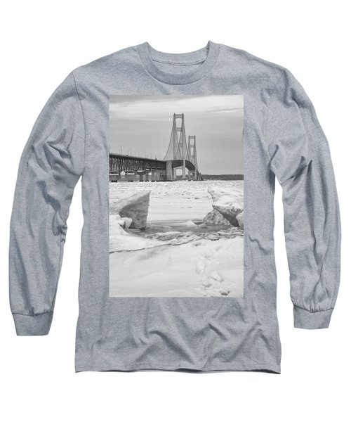 Long Sleeve T-Shirt featuring the photograph Icy Black And White Mackinac Bridge  by John McGraw