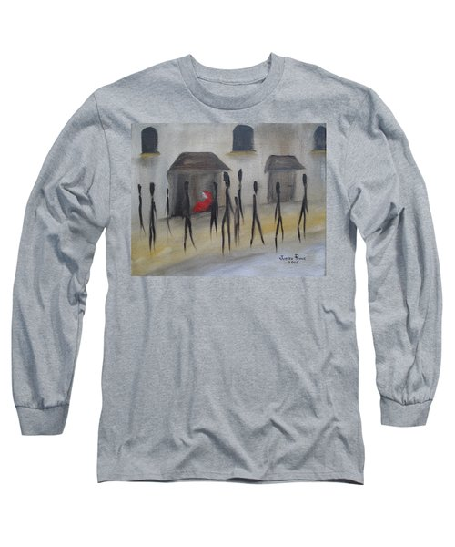 Long Sleeve T-Shirt featuring the painting Ignoring The Homeless by Judith Rhue