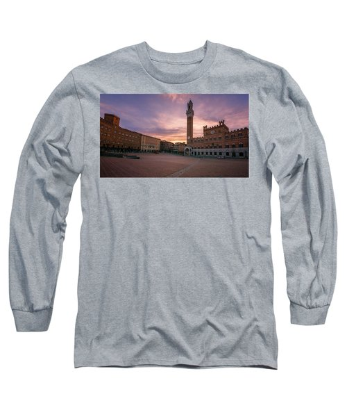 Long Sleeve T-Shirt featuring the photograph Il Campo Dawn Siena Italy by Joan Carroll