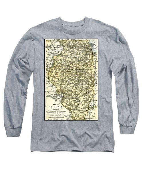 Illinois Antique Map 1891 Long Sleeve T-Shirt