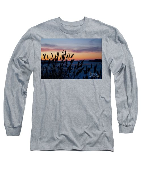 Illinois River Winter Sunset  Long Sleeve T-Shirt