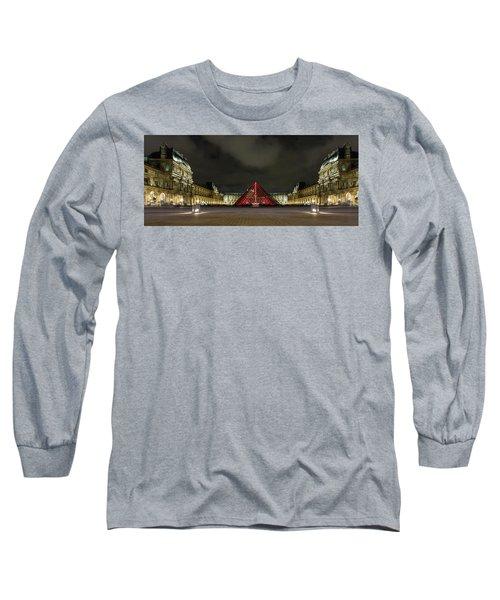 Illuminated Louvre Museum, Paris Long Sleeve T-Shirt