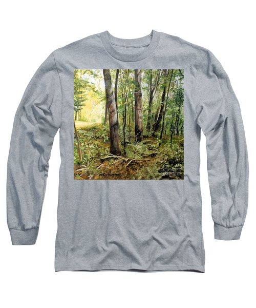 In The Shaded Forest  Long Sleeve T-Shirt by Laurie Rohner