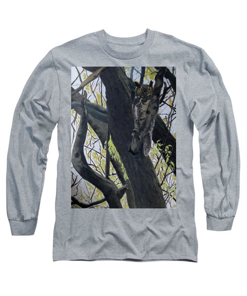 In The Shadow-ojibway Great Horn Owl Long Sleeve T-Shirt