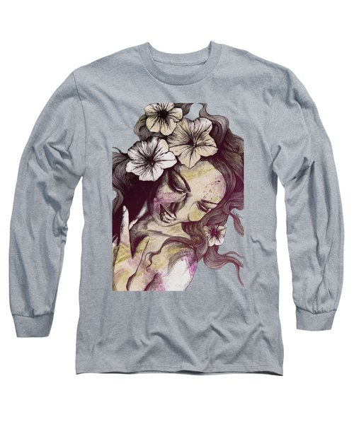 In The Year Of Our Lord - Wine - Smiling Lady With Petunias Long Sleeve T-Shirt