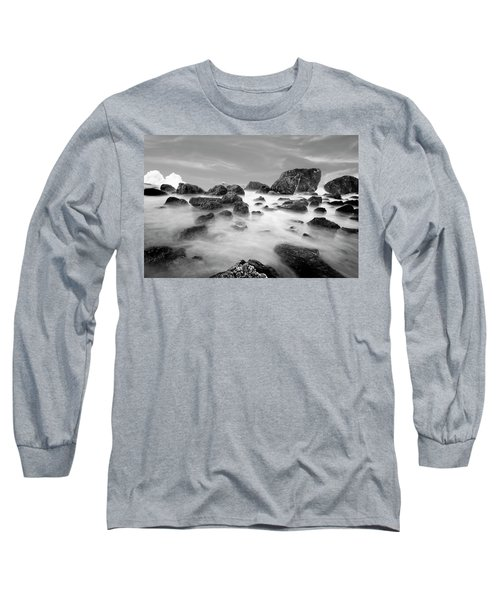 Indian Beach, Ecola State Park, Oregon, In Black And White Long Sleeve T-Shirt