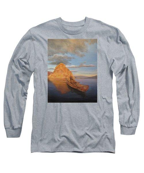 Indian On Lake Pyramid Long Sleeve T-Shirt
