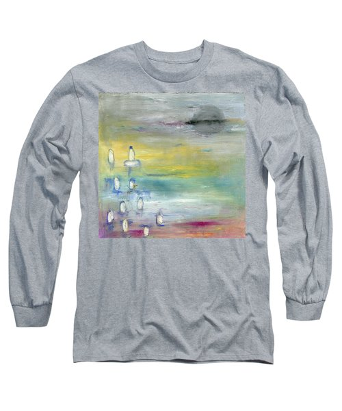 Indian Summer Over The Pond Long Sleeve T-Shirt by Michal Mitak Mahgerefteh