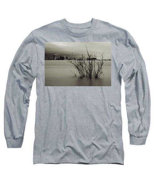 Industry On The Mississippi River, In Monochrome Long Sleeve T-Shirt