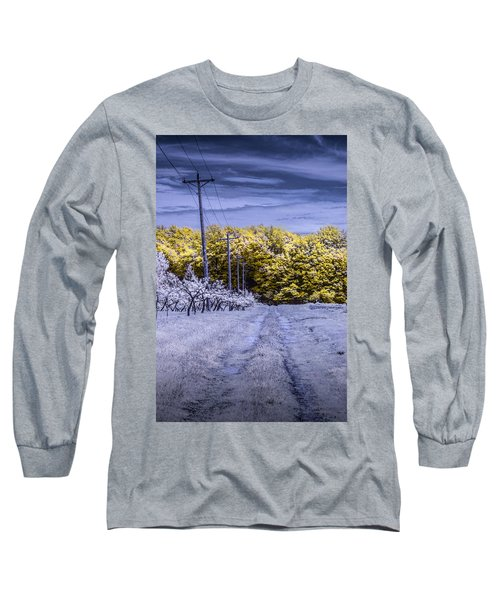 Infrared Orchard Road Landscape In Blue And Yellow Long Sleeve T-Shirt