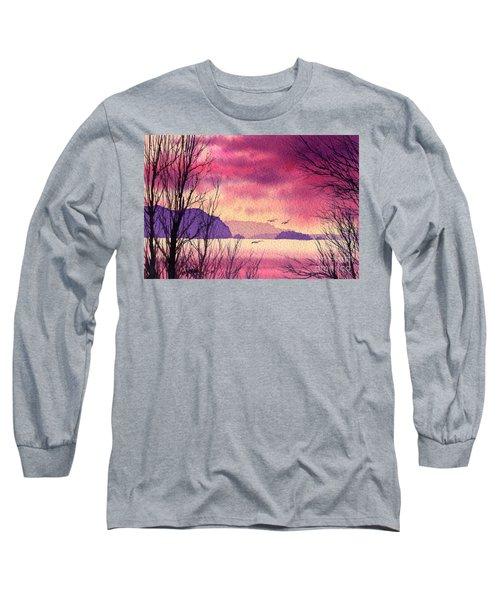 Long Sleeve T-Shirt featuring the painting Inland Sea Islands by James Williamson