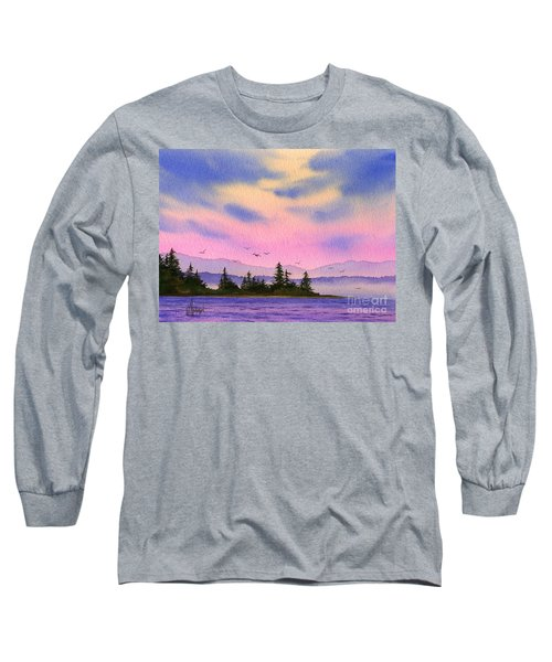 Long Sleeve T-Shirt featuring the painting Inland Sea Sunset by James Williamson