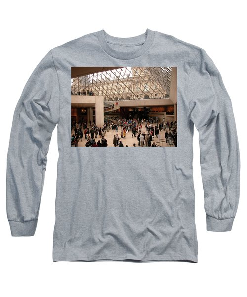 Long Sleeve T-Shirt featuring the photograph Inside Louvre Museum Pyramid by Mark Czerniec