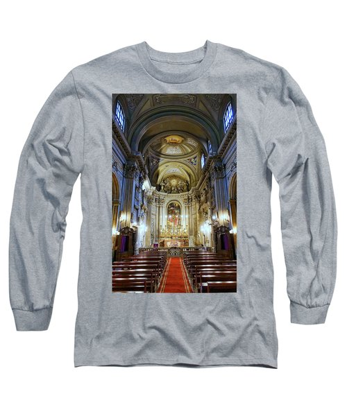 Interior View Of Santi Vincenzo E Anastasio A Fontana Di Trevi In Rome Italy Long Sleeve T-Shirt