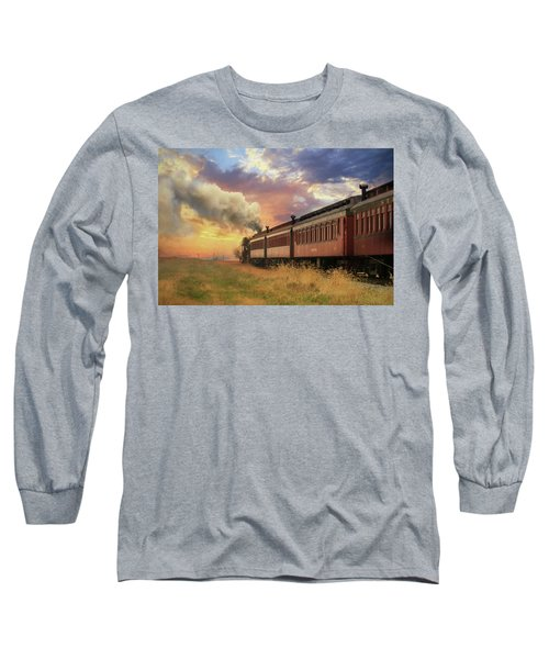Long Sleeve T-Shirt featuring the mixed media Into The Sunset by Lori Deiter