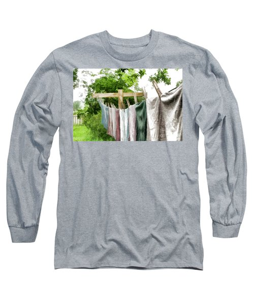 Long Sleeve T-Shirt featuring the photograph Iowa Farm Laundry Day  by Wilma Birdwell