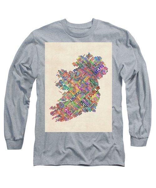 Ireland Eire City Text Map Derry Version Long Sleeve T-Shirt