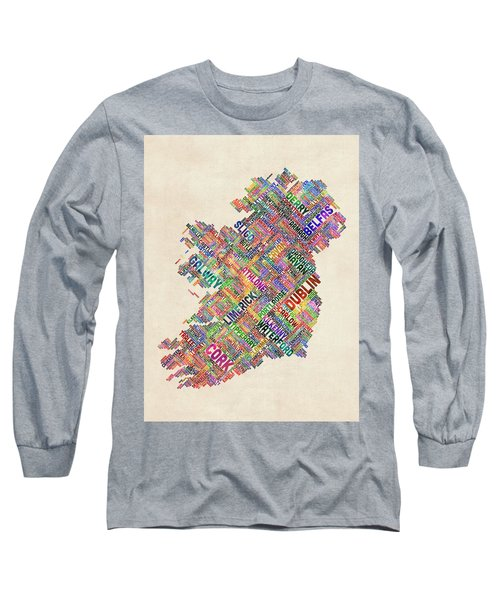 Ireland Eire City Text Map Derry Version Long Sleeve T-Shirt