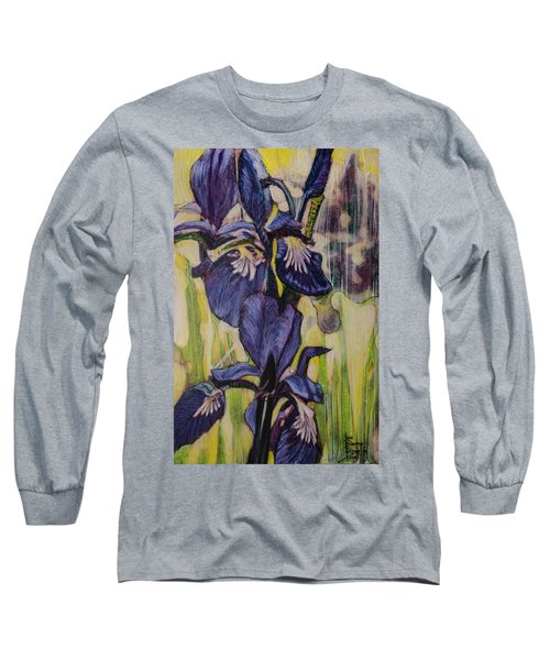 Long Sleeve T-Shirt featuring the painting Iris-2016 by Ron Richard Baviello