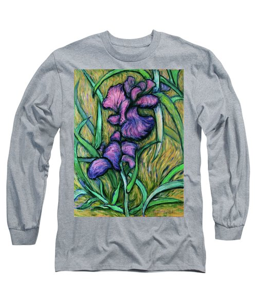 Long Sleeve T-Shirt featuring the painting Iris For Vincent - Contemporary Fauvist Post-impressionist Oil Painting Original Art On Canvas by Xueling Zou