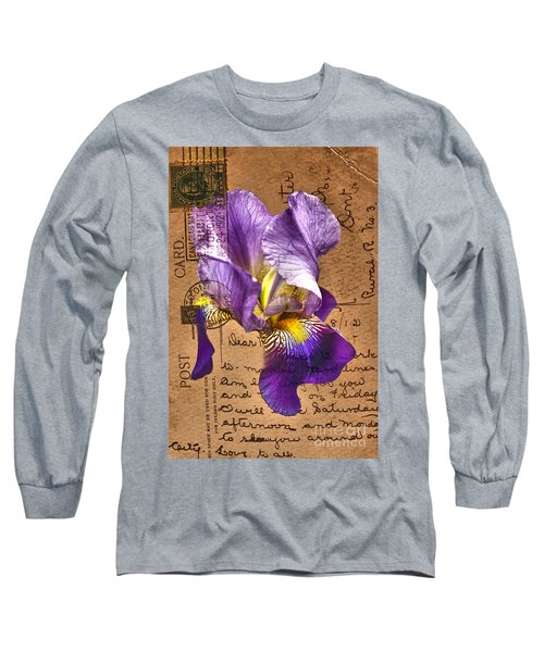 Iris On Vintage 1912 Postcard Long Sleeve T-Shirt
