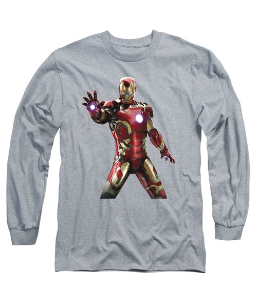 Long Sleeve T-Shirt featuring the mixed media Iron Man Splash Super Hero Series by Movie Poster Prints
