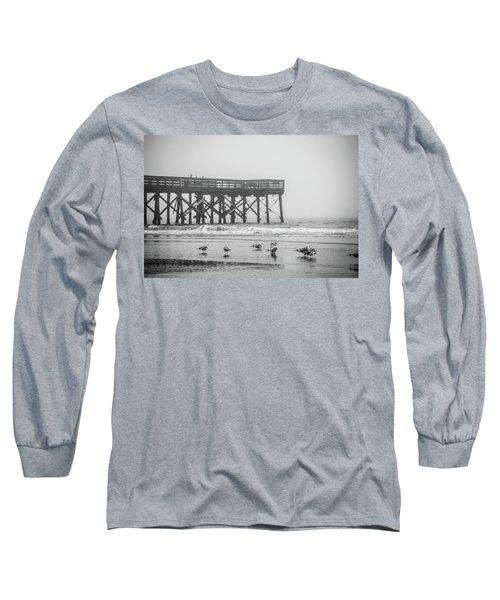 Isle Of Palms Pier And Fog Long Sleeve T-Shirt