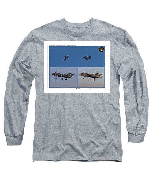 Long Sleeve T-Shirt featuring the digital art Israeli Air Force First Two F-35i Adir by Amos Dor
