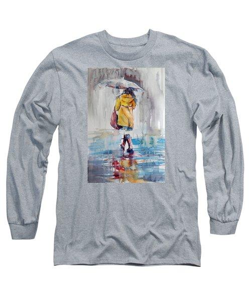It Is Raining Long Sleeve T-Shirt by Kovacs Anna Brigitta