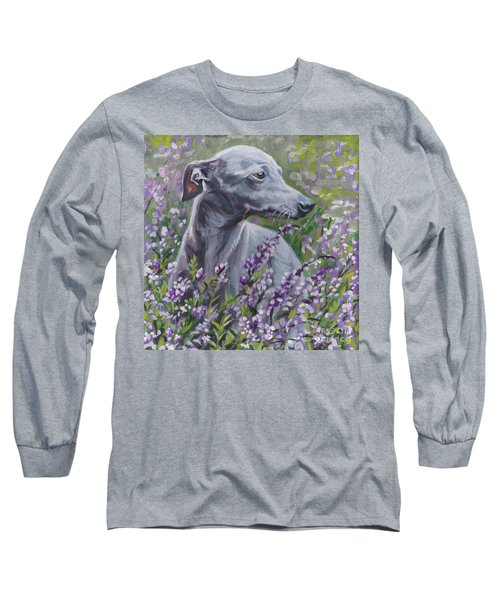 Long Sleeve T-Shirt featuring the painting  Italian Greyhound In Flowers by Lee Ann Shepard