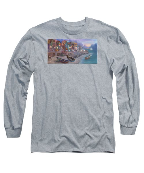 Italy Tuscan Decor Painting Seascape Village By The Sea Long Sleeve T-Shirt