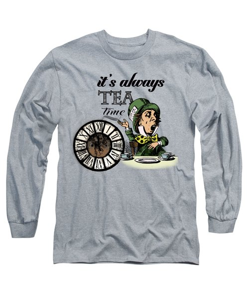 It's Always Tea Time Mad Hatter Dictionary Art Long Sleeve T-Shirt by Jacob Kuch